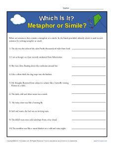 Which Is It Metaphor Or Simile Figurative Language Worksheets