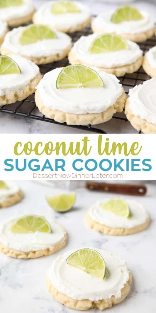 Coconut Lime Sugar Cookies - an easy sugar cookie recipe with a tropical fruit twist. You'll love these moist sugar cookies with a hint of lime, creamy coconut frosting, and a fresh lime wedge to squeeze on top. A Twisted Sugar copycat recipe. #sugarcookierecipe