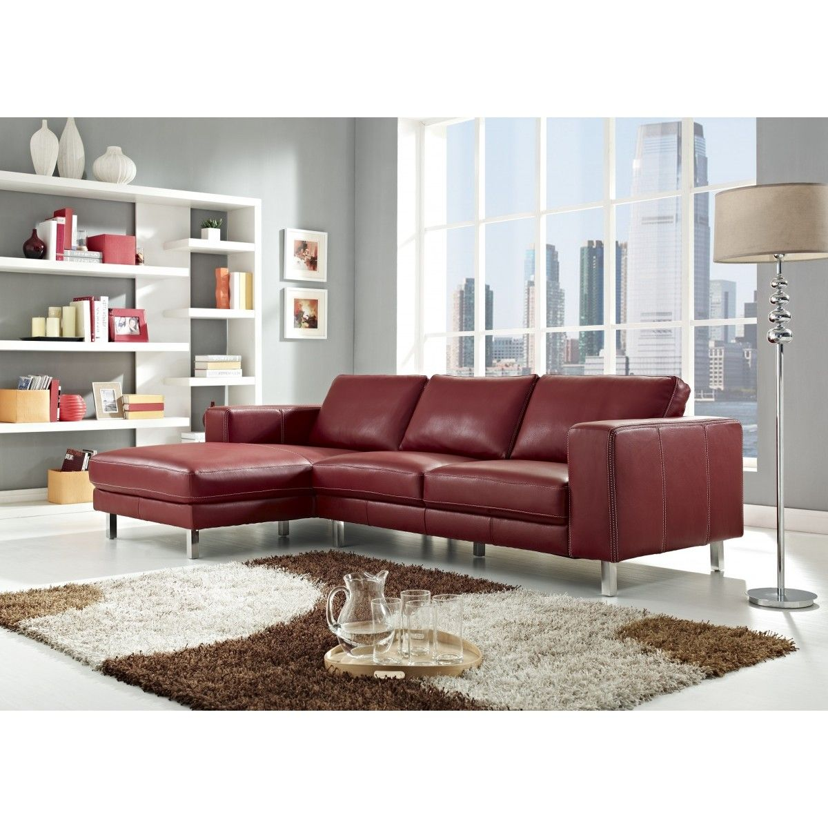 - Anika Red Full Top Grain Leather Sectional Sofa By Creative