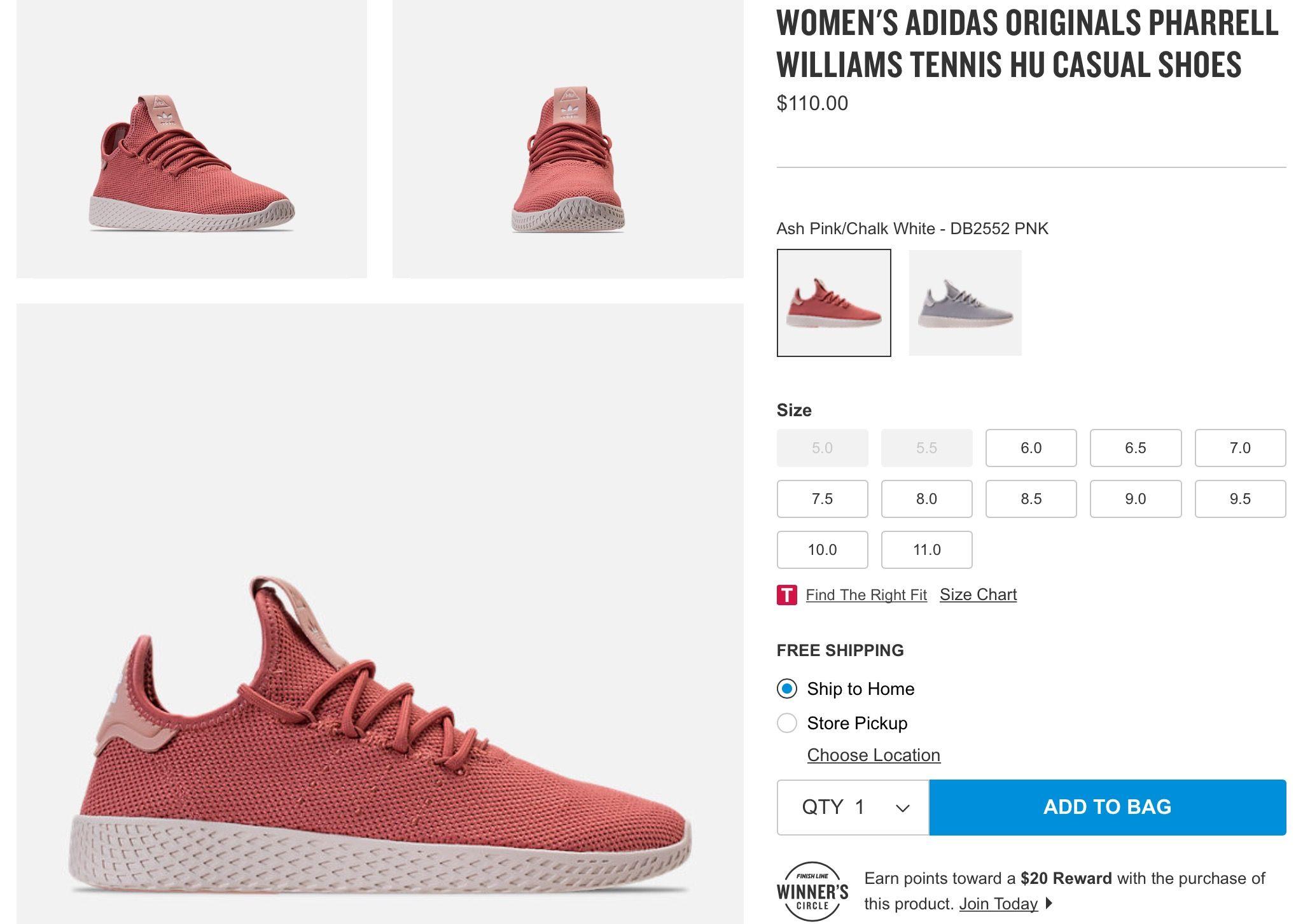 ba72ddfdba03d Finish line.com. Women s adidas originals Pharrell Williams tennis hu  casual shoes in ash