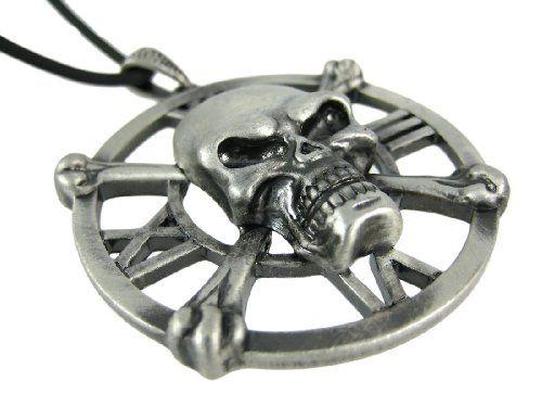 Skull & Crossbones Clock Face Pendant W/ Cord Necklace