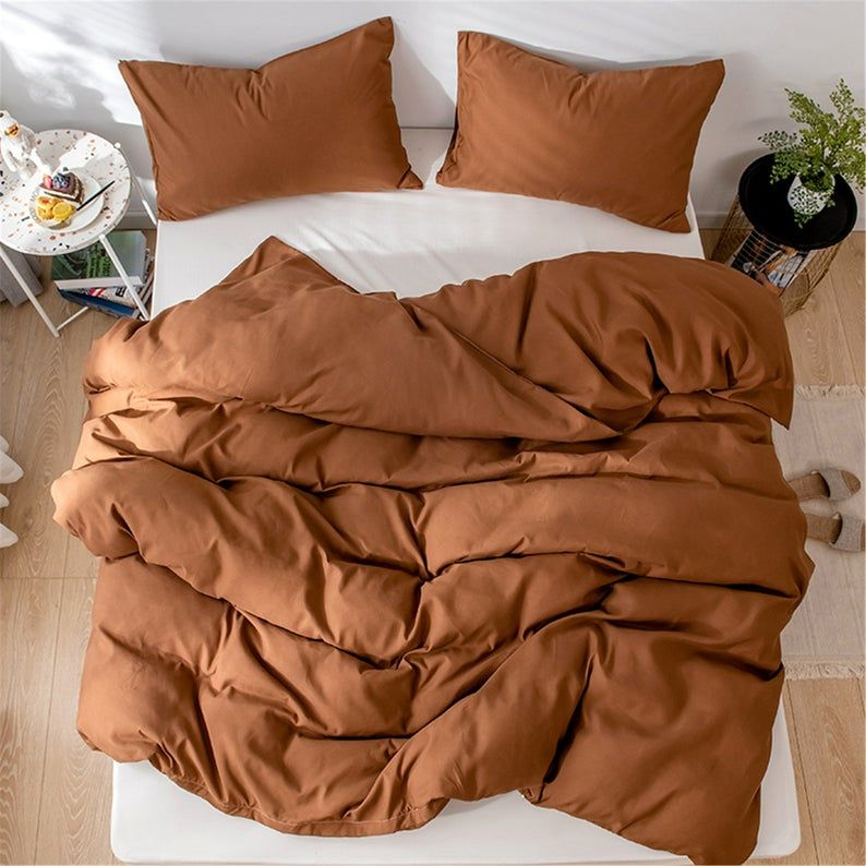 Autumn Winter 3 Piece Comforter Cover Set Brown Duvet Cover Etsy Comforter Cover Brown Duvet Covers Brown Comforter Sets