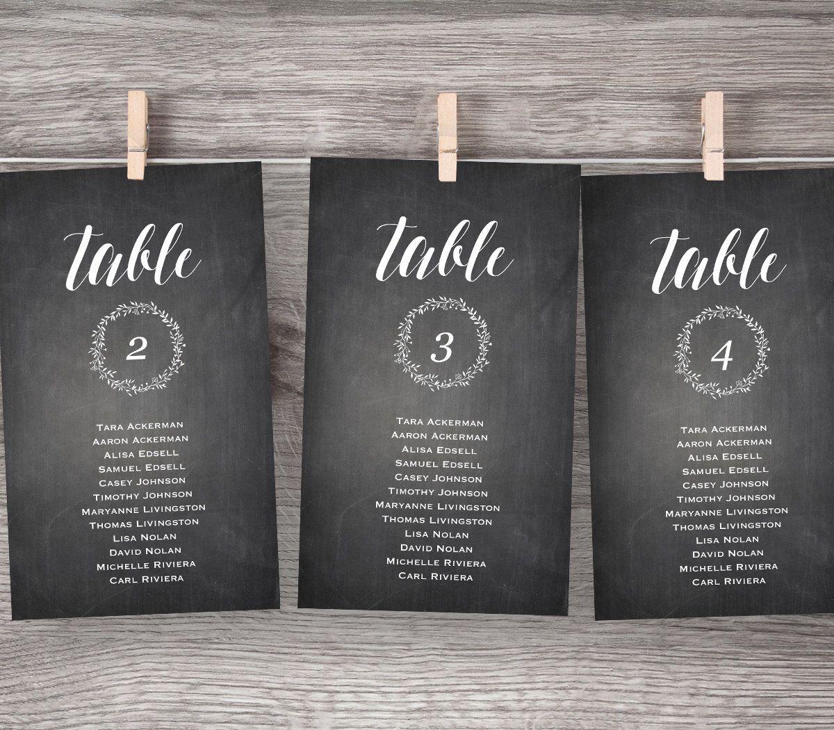 Chalkboard Wedding Seating Chart, Printable Hanging Seating Plan ...