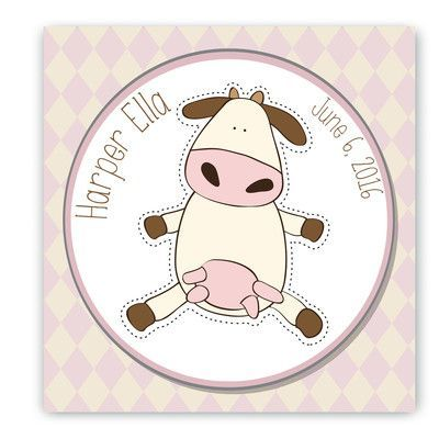 JDS Personalized Gifts Personalized Baby Nursery Cow Canvas Art