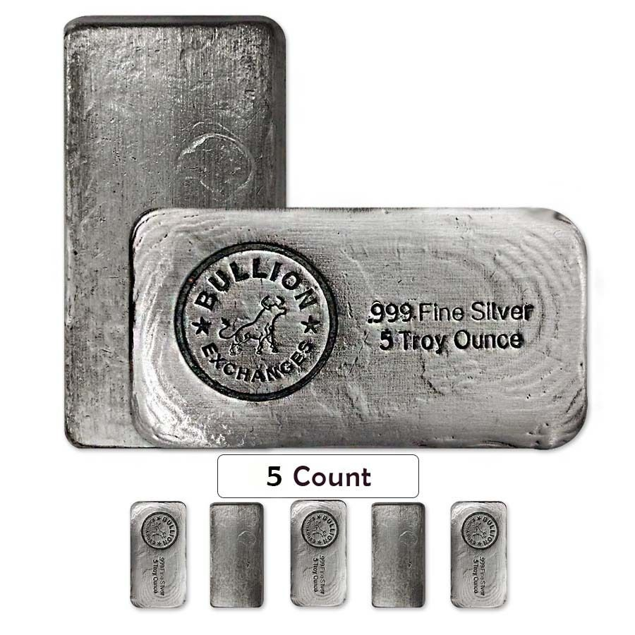 Lot Of 5 5 Oz Bullion Exchanges Silver Hand Poured Bar 999 Fine Antiqued Gold Bullion Bars Gold Bullion Bullion