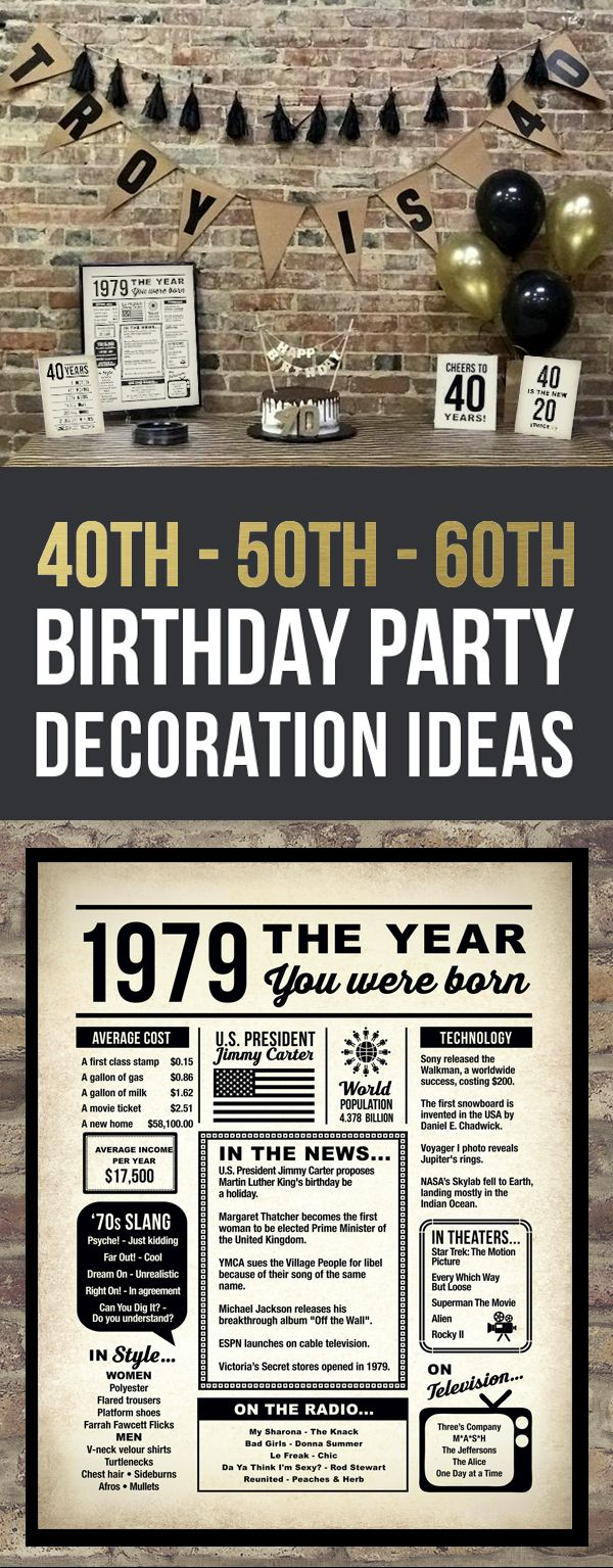 PRINTABLE Birthday Party Decorations Available For 30th40th 50th 60th 70th 80th Birthdays Gift Ideas Her Him Women Men Wife Husband Grandma