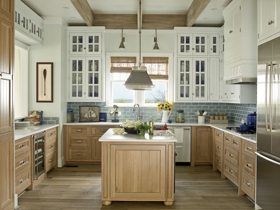 Cool Blue Traditional Kitchen - mixed cabinet colors | Kitchen ...