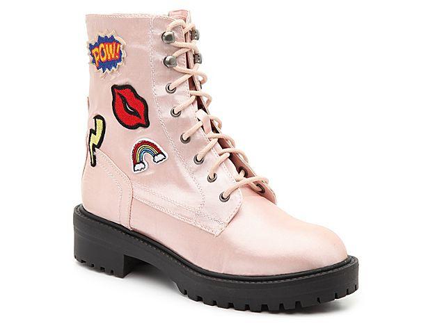 Women Drac Combat Boot -Light Pink
