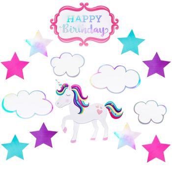 Unicorn Birthday CutOuts - Unicorn birthday, Unicorn party invites, Unicorn decorations, Unicorn party, Birthday, Party themes - 4       Full Text Happy Birthday     Package contains 14 cutouts