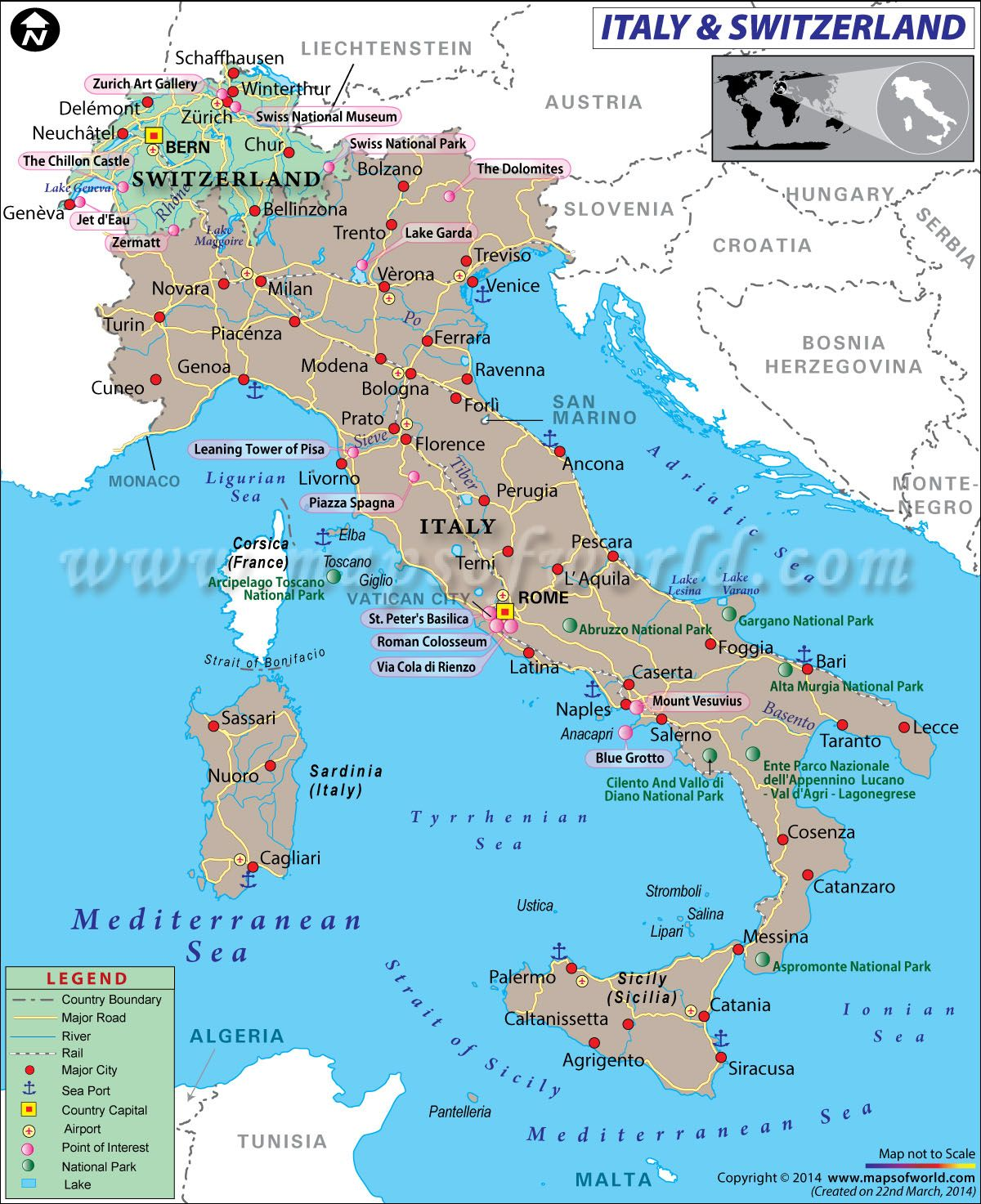 Map of Italy and Switzerland  Italy and Munich in 2019  Italy map Road trip europe Map