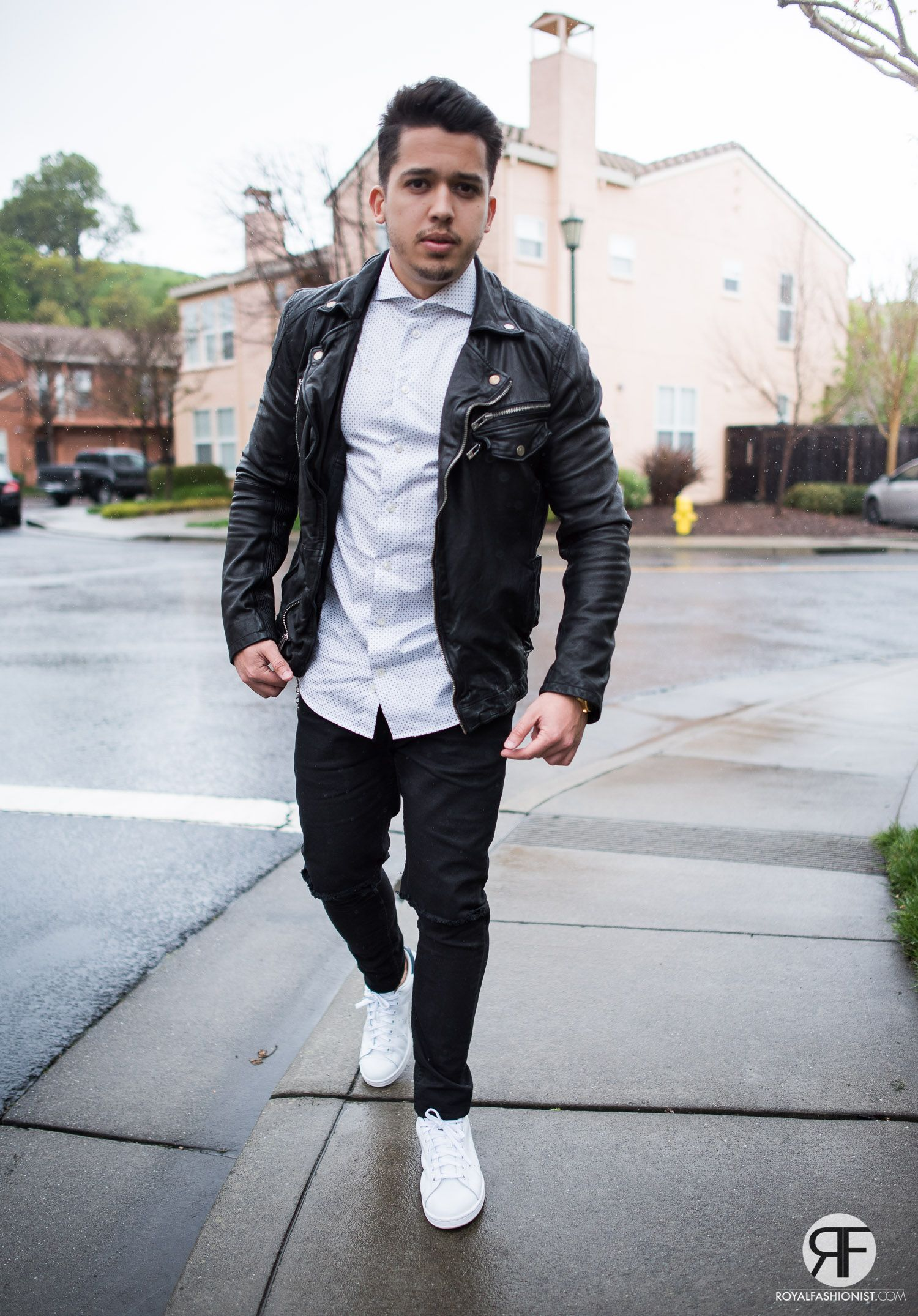Men S Outfit Idea White Shirt Leather Jacket And Destroyed Jeans
