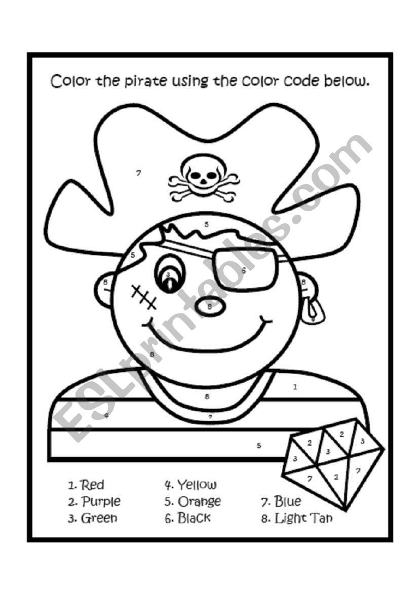 Students Color The Worksheet Using The Number Color Code Great For Beginners Learning Numbers And Colors Pirate Coloring Pages Pirates Pirate Boy [ 1169 x 821 Pixel ]