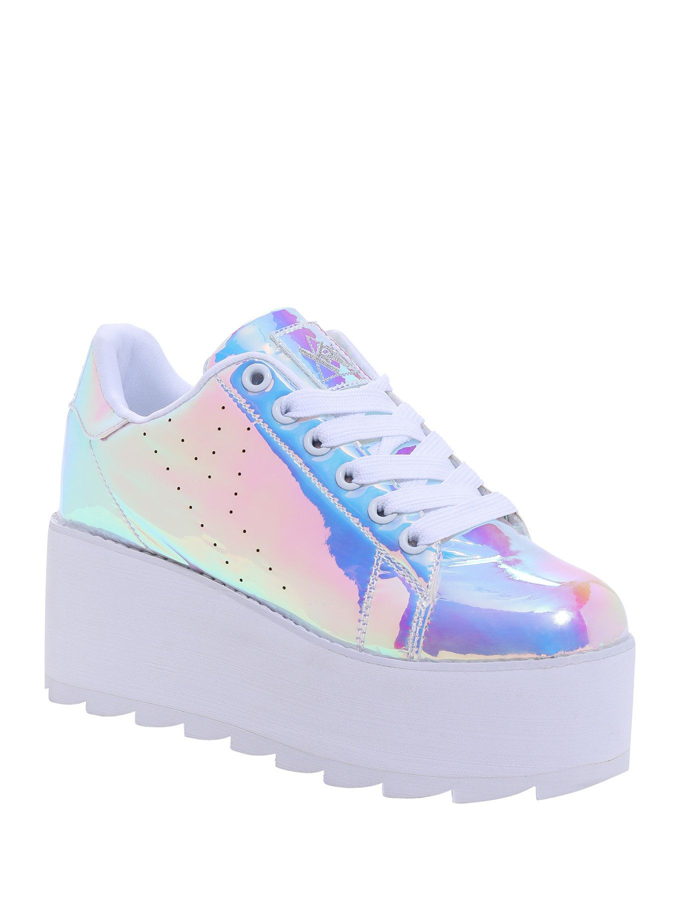 341d5e18089b Step into another galaxy when you put on these hologram shoes from Y.R.U.!  The upper reflects all pastel colors of the rainbow and the ridged platform  is 3