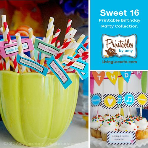 A Stylish Sweet 16 Printables for a teenager Birthday Party Collection. PrintablesByAmy.com & Sweet 16 Birthday Party | Pinterest | Sweet 16 Sweet 16 birthday ...