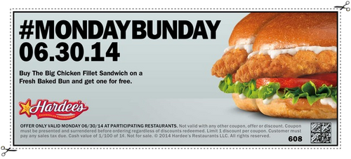 Hardees chicken coupons