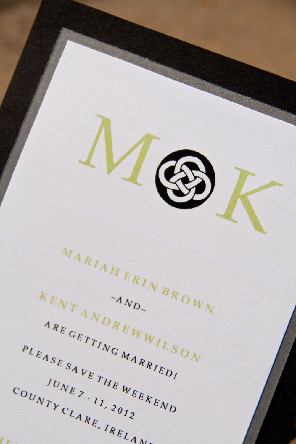 Celtic Knot Wedding Save The Date Invitation Monogram Set Of 50 By Belleza E Luce