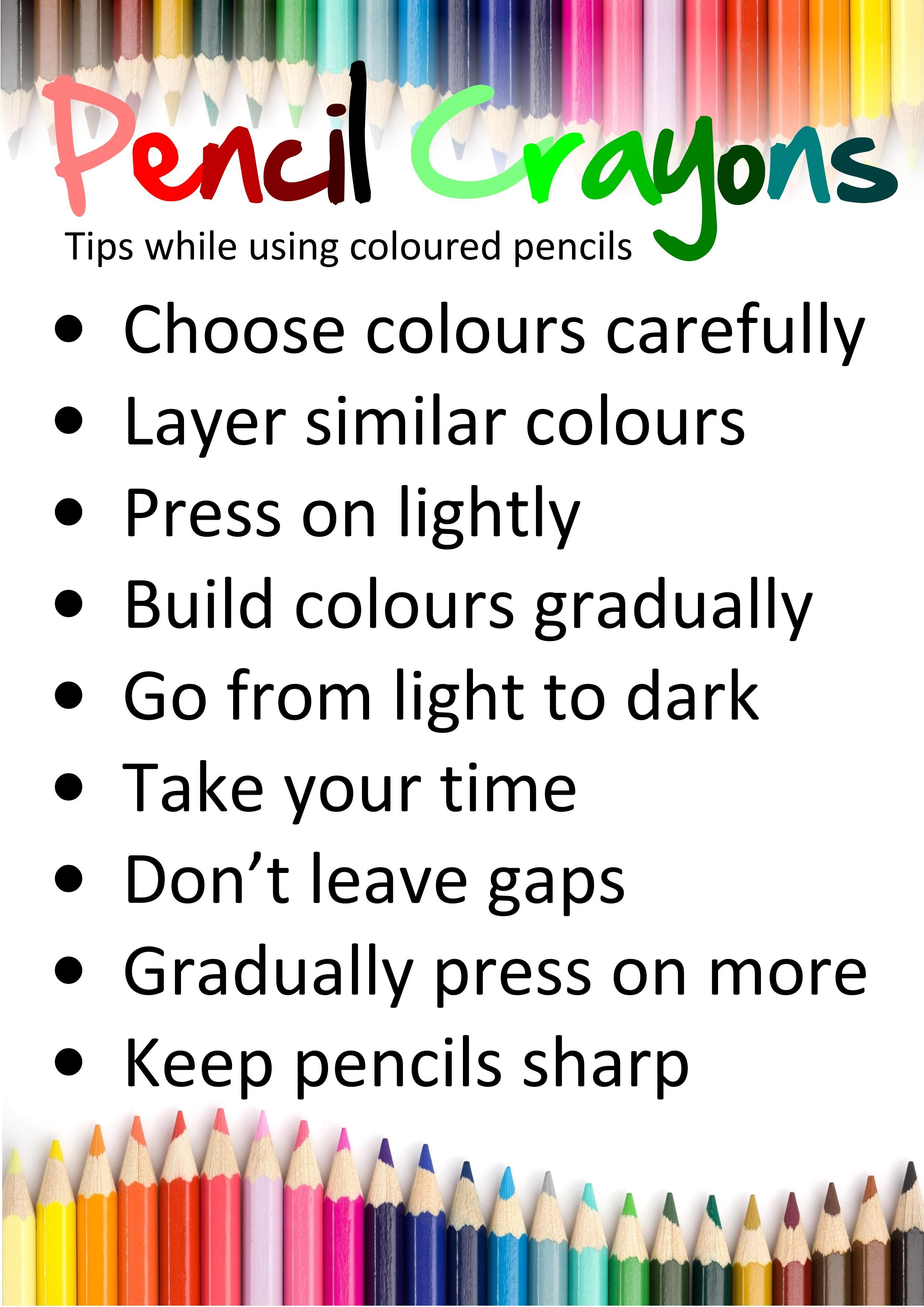 Display Sheet For How To Use Colored Pencils