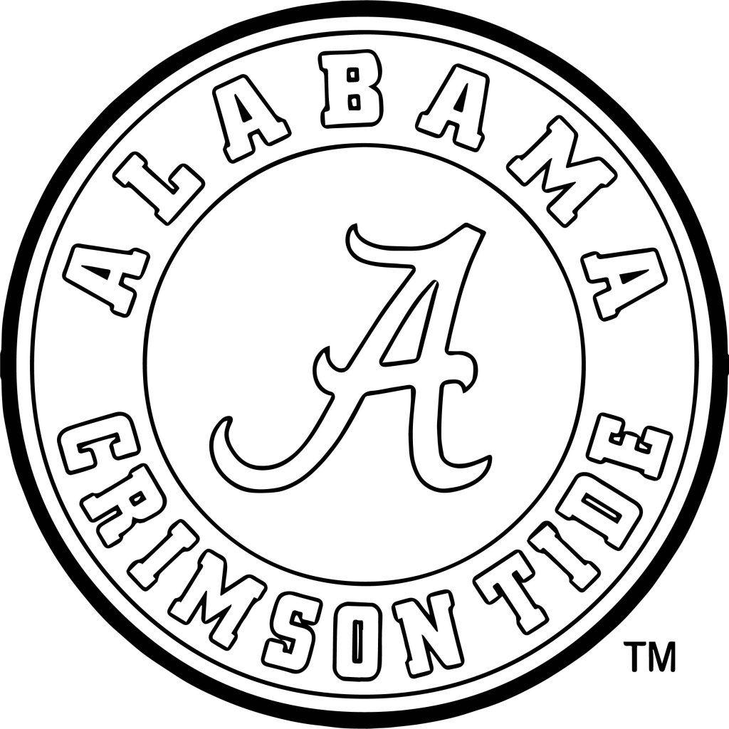 alabama crimson circle logo coloring page  alabama