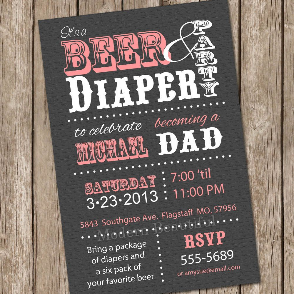 printable mens diaper party invitations | Diapers for Daddy Baby ...