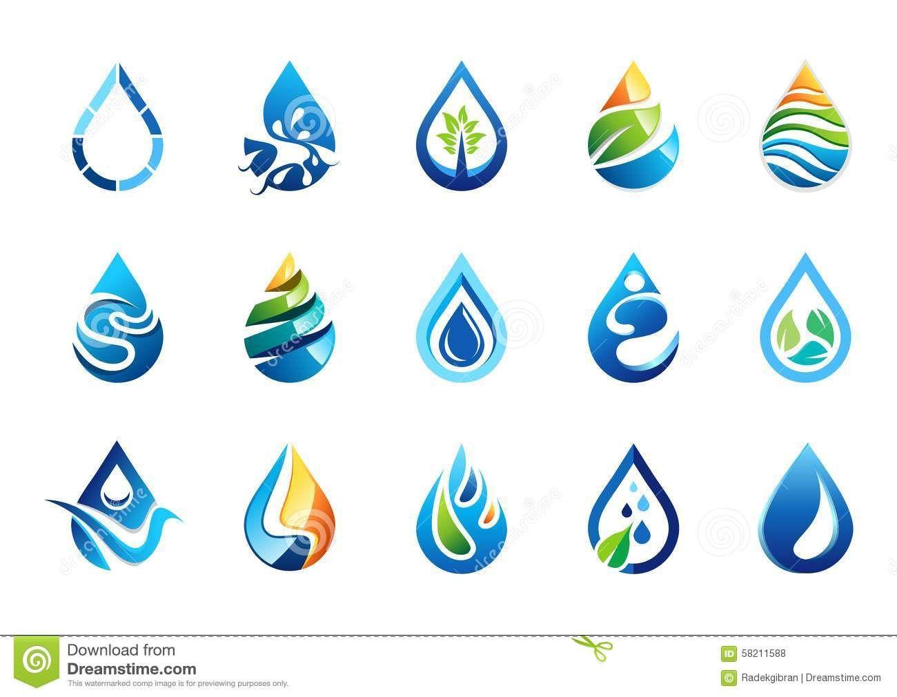 Water Drops Logo Ideias Para Logotipos Logotipo De Agua Design De Embalagens