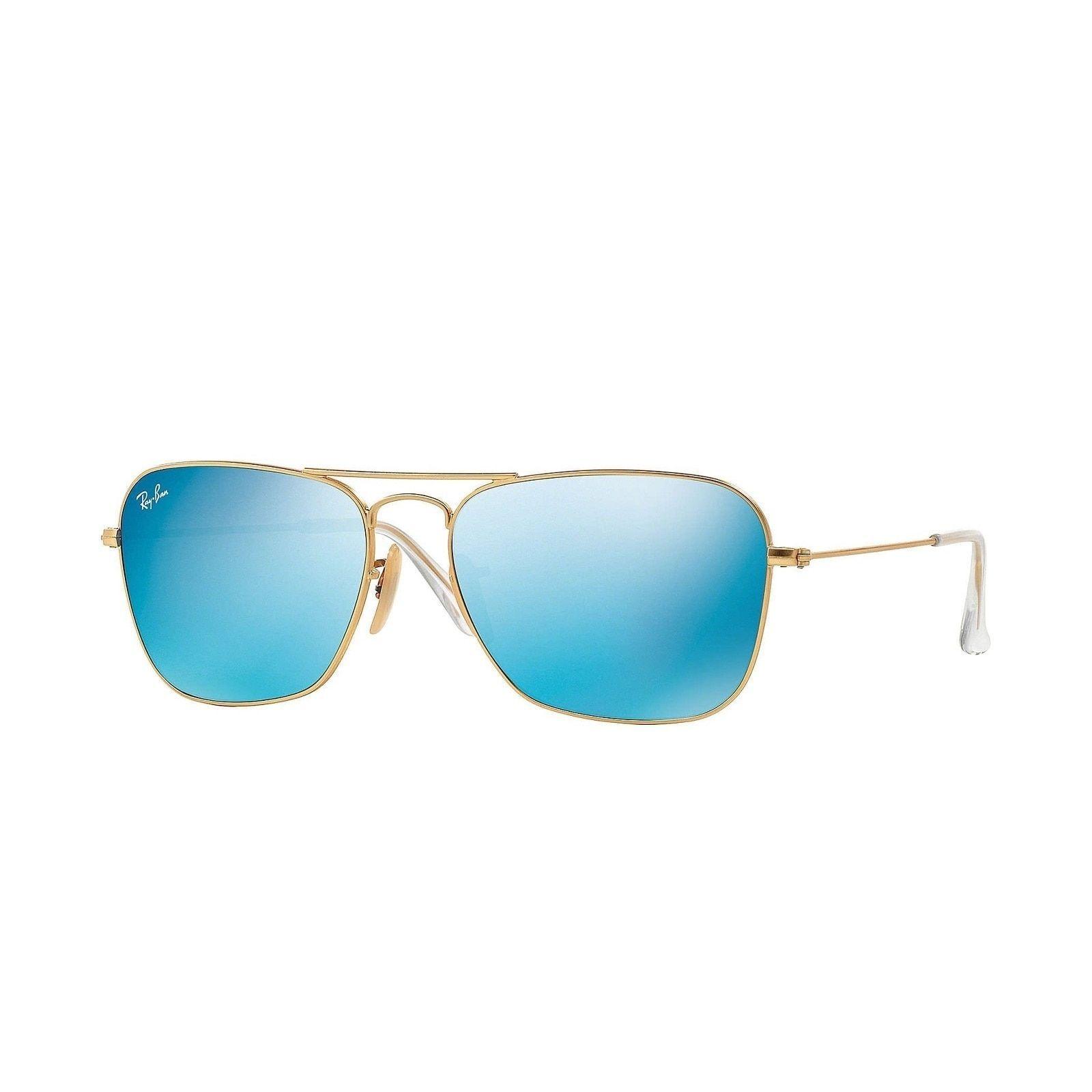 70efe99eb4b Ray-Ban Caravan RB3136 112 17 Gold Frame Blue Flash 58mm Lens Sunglasses ( RB3136 112 17 58)