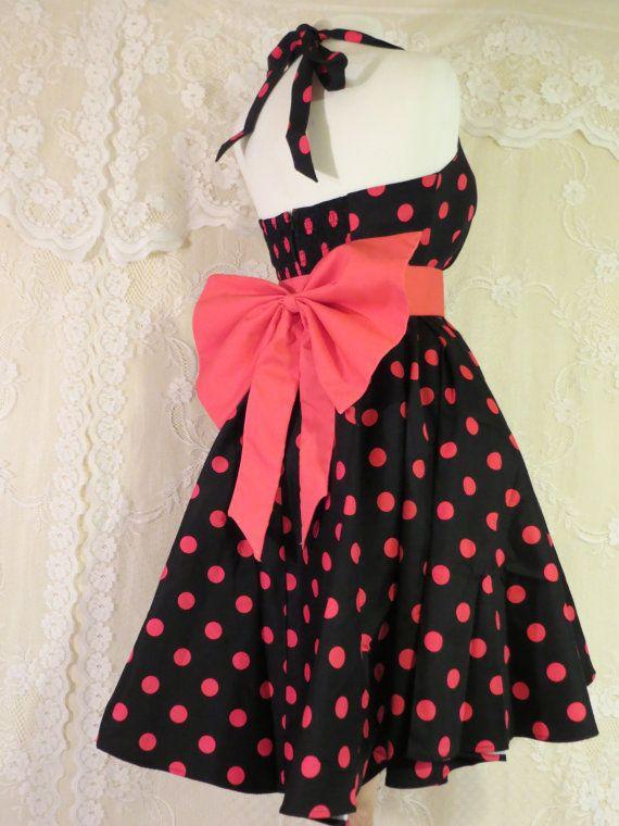 Bubble Gum Pink Polka Dot ROCKABILLY Black by GlitzyGlamourGirlz