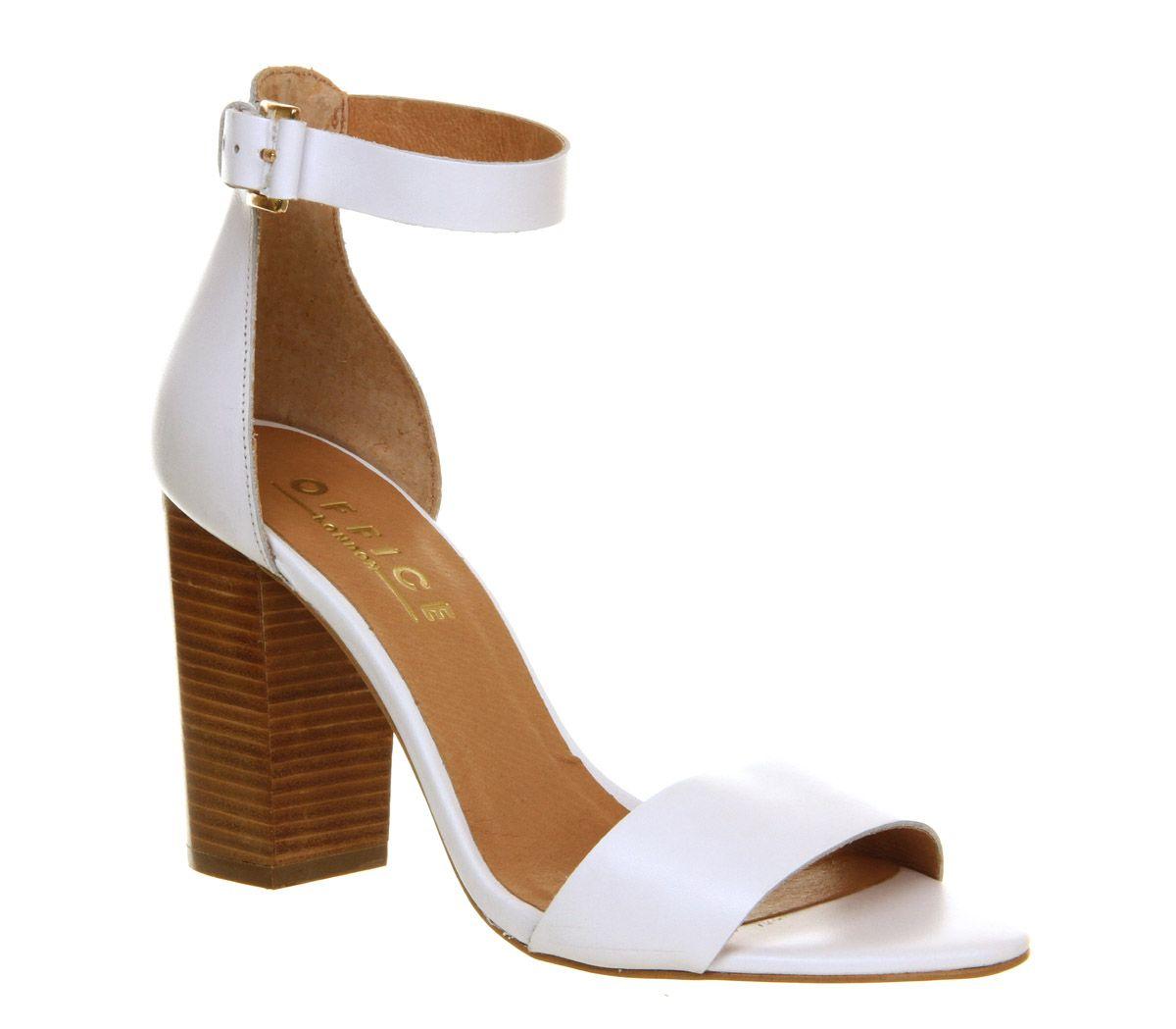 Office Sasha Block Heel Sandal White Leather - High Heels ...