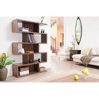 @Overstock - Make a bold, contemporary statement with this stylish bookshelf room divider. This unique wood shelving unit has a smooth walnut finish and the abstract design will look striking up against a wall or free-standing in the center of the room. http://www.overstock.com/Home-Garden/Karrise-Walnut-Display-Shelf-Bookcase-Room-Divider/5483409/product.html?CID=214117 $215.99