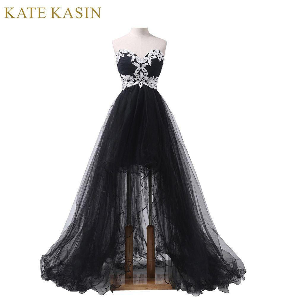 Elegant Strapless Appliques Corset Front Short Black High Low Lace Long Prom Dresses 2017 Part Prom Dresses For Sale High Low Prom Dresses Evening Dresses Long [ 1000 x 1000 Pixel ]