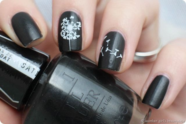 Black Dandelion Stamping Nail Art In 2019 Pinterest Nagel