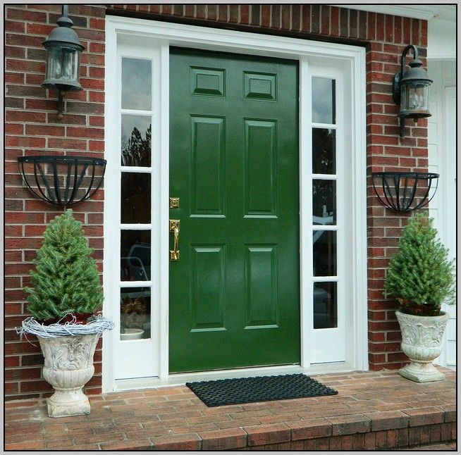Door color for red brick house yahoo image search Dark green front door paint