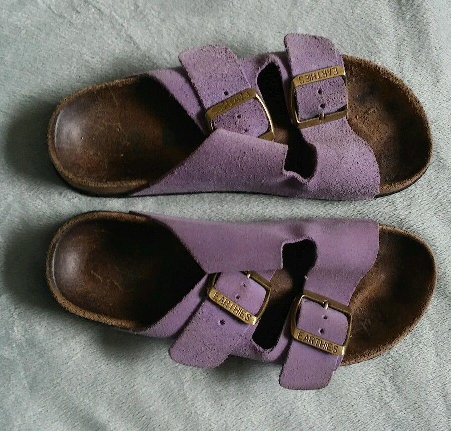 1cabf4f6df54 Womens Earthies sandals Birkenstock-like slip on sandals Sz 5 light purple   Earthies  Slides