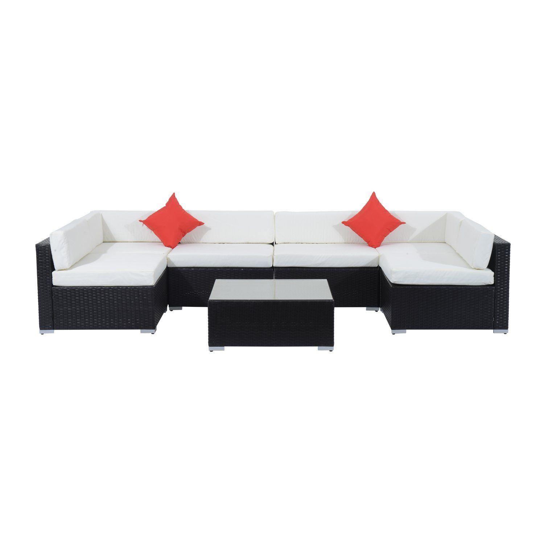 Amazon Outsunny 7 Piece Outdoor Patio PE Rattan Wicker Sofa
