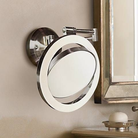 Satin Nickel Finish Cfl 12 3 4 H Plug In Wall Mount Mirror R3057 Lamps Plus Wall Mounted Mirror Mirror Lamps Plus