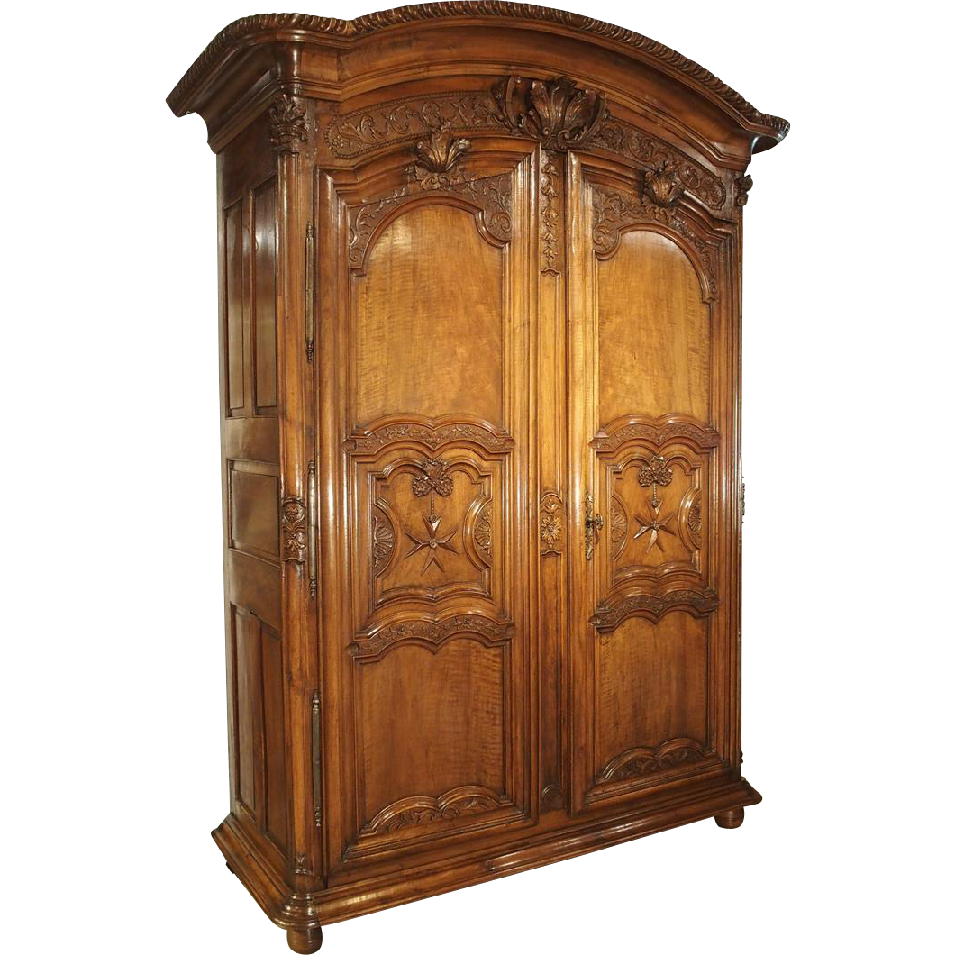 Early 1700's French Walnut Wood Chateau Armoire, 'The Order of Saint Louis'  # - Early 1700's French Walnut Wood Chateau Armoire,