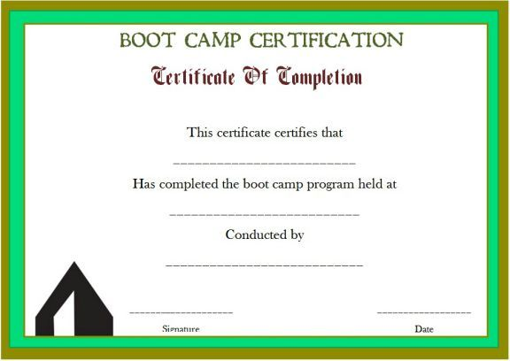 Printable Boot Camp Certificate Boot Camp Certificate Template