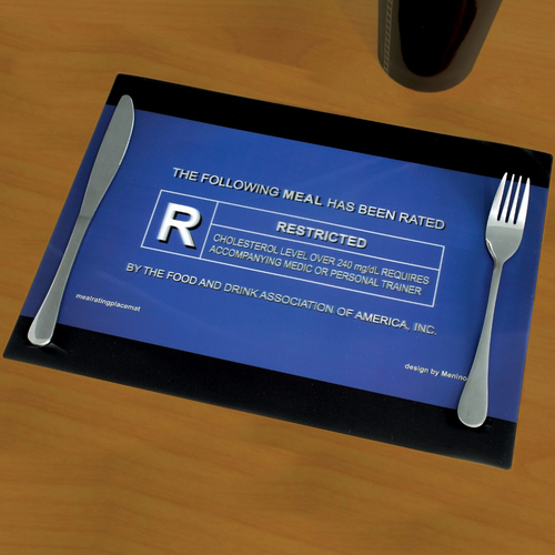 3D Movie Rating Placemat -- Sometimes, food can get obscene.  Unique gift, gift idea, birthday gift, holiday gift, gift for her, gift for him
