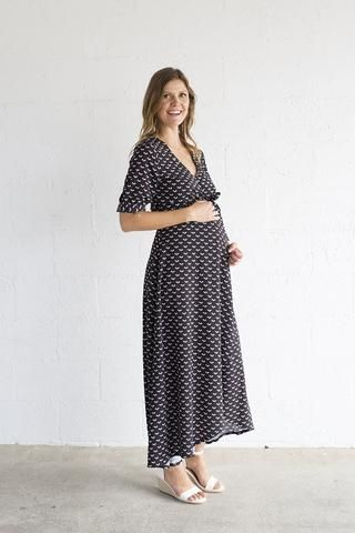 9856cf618d37b The Harlow Maternity and Nursing Wrap Dresses (black preppy, small hearts)  - small