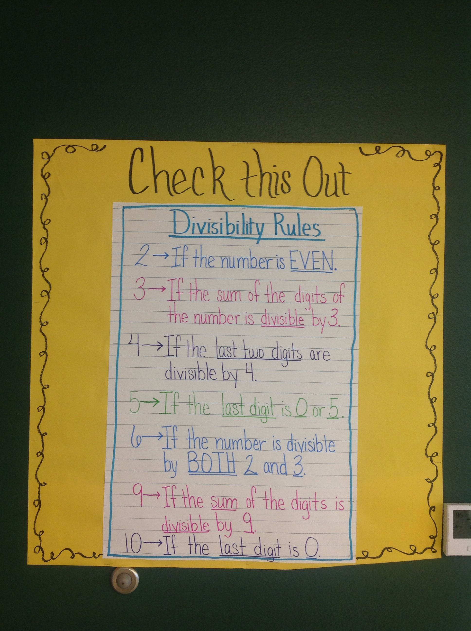 Divisibility Rules Anchor Chart
