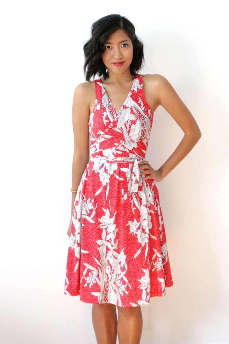 Red floral flared wrap dress vneck tank dress flared wrap dress red floral flared wrap dress vneck tank dress flared wrap dress with wrap ties full circle skirtsmaternity ombrellifo Gallery
