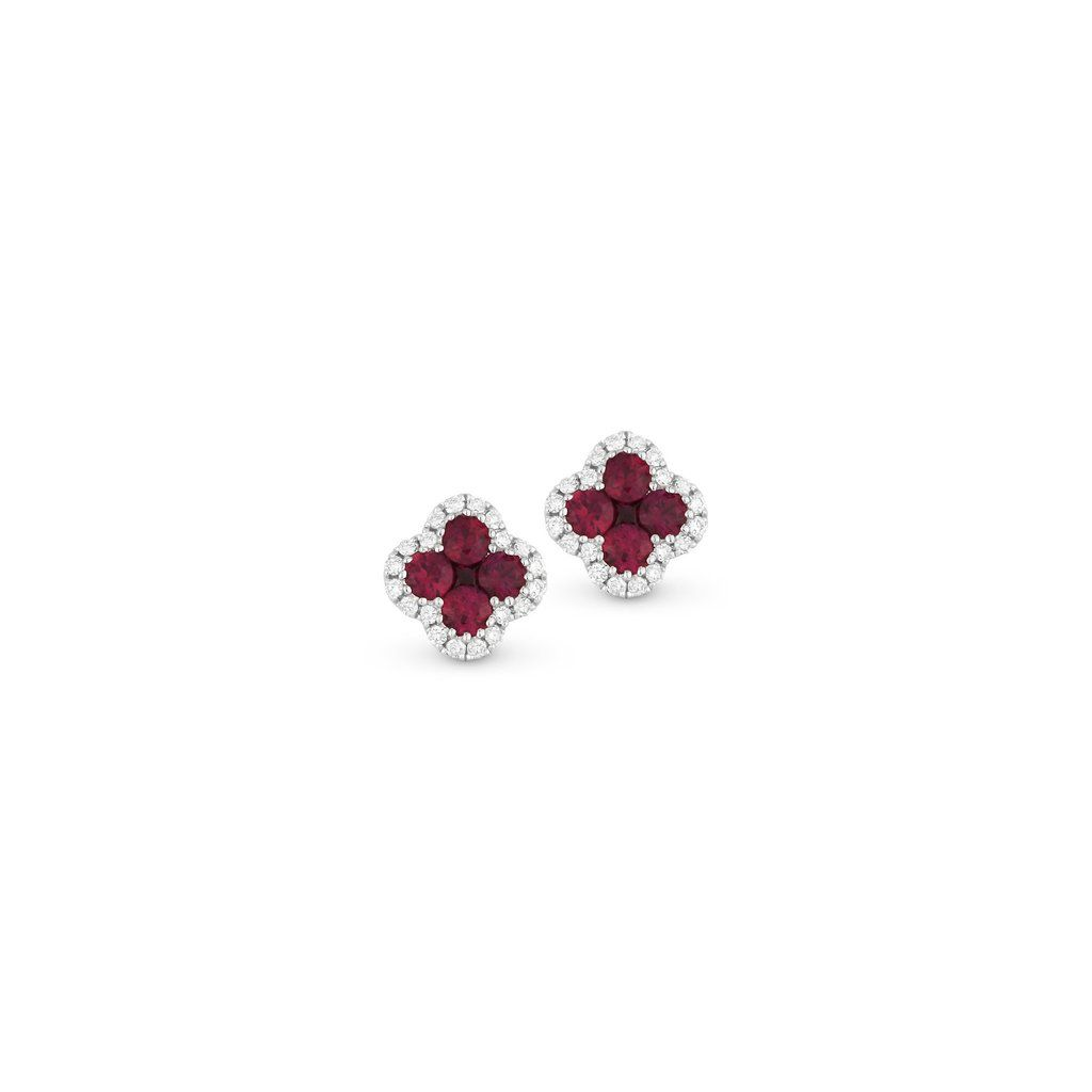 Ruby And Diamond Clover Stud Earring Products I Love