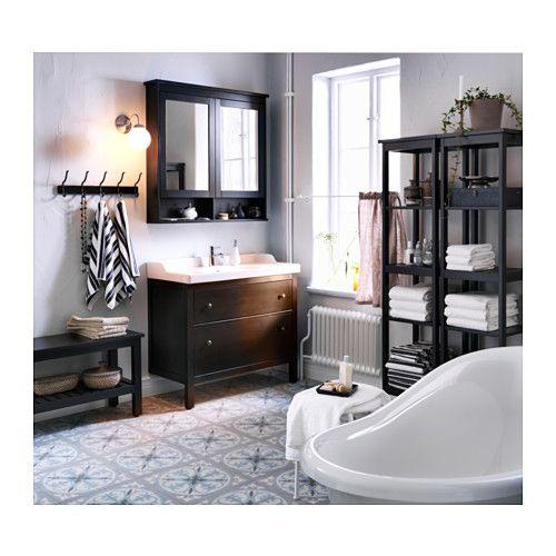 HEMNES Spiegelschrank 2 Türen - schwarzbraun gebeizt, 103x16x98 cm ... | {Ikea spiegelschrank hemnes 10}