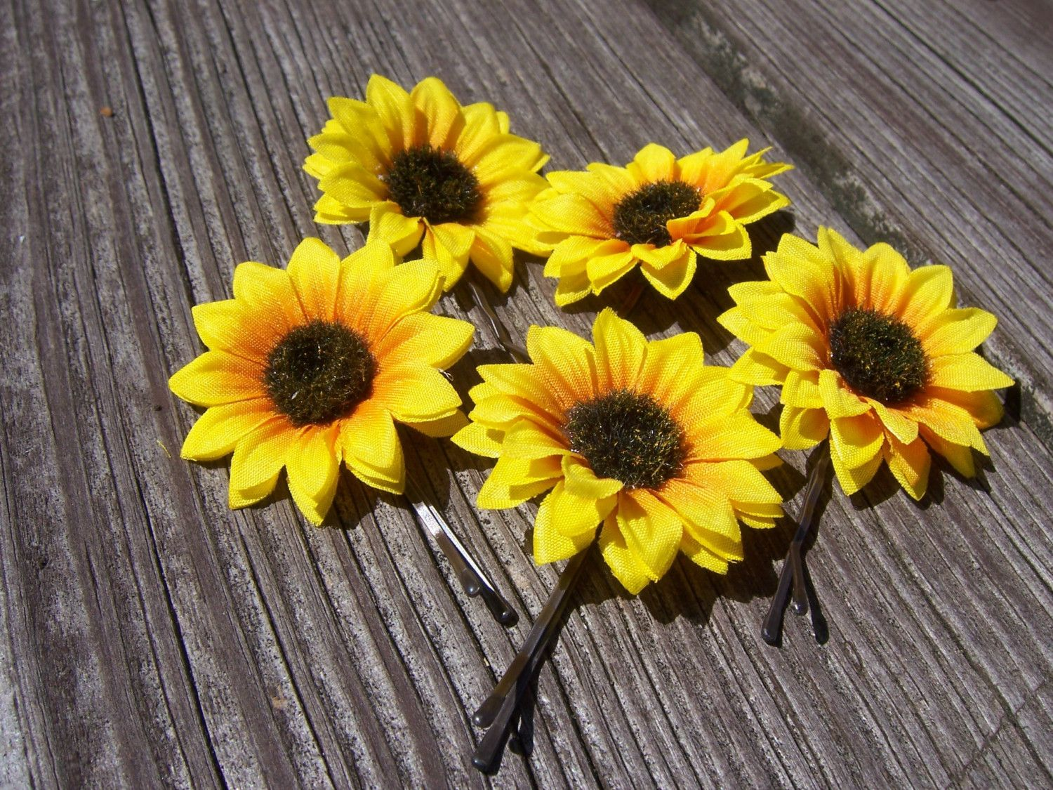 Miniature Sunflower Bobby Pins. $7.00, via Etsy.