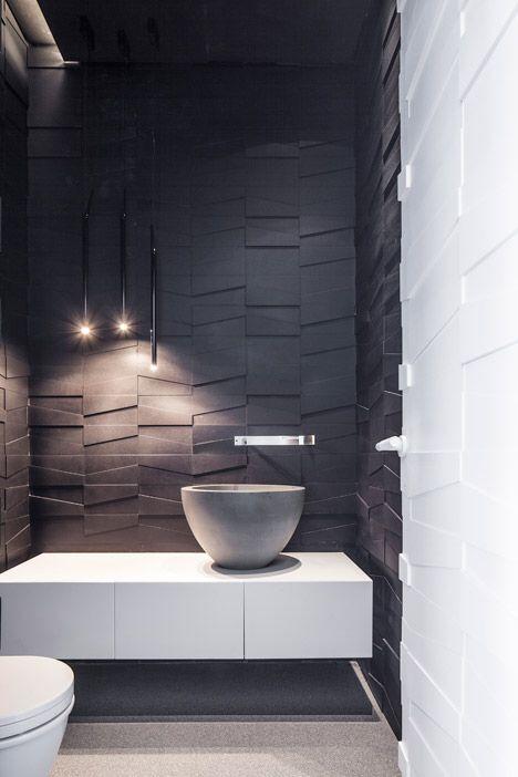 Monochrome textured walls |  Pitsou Kedem Architects #modernpowderrooms