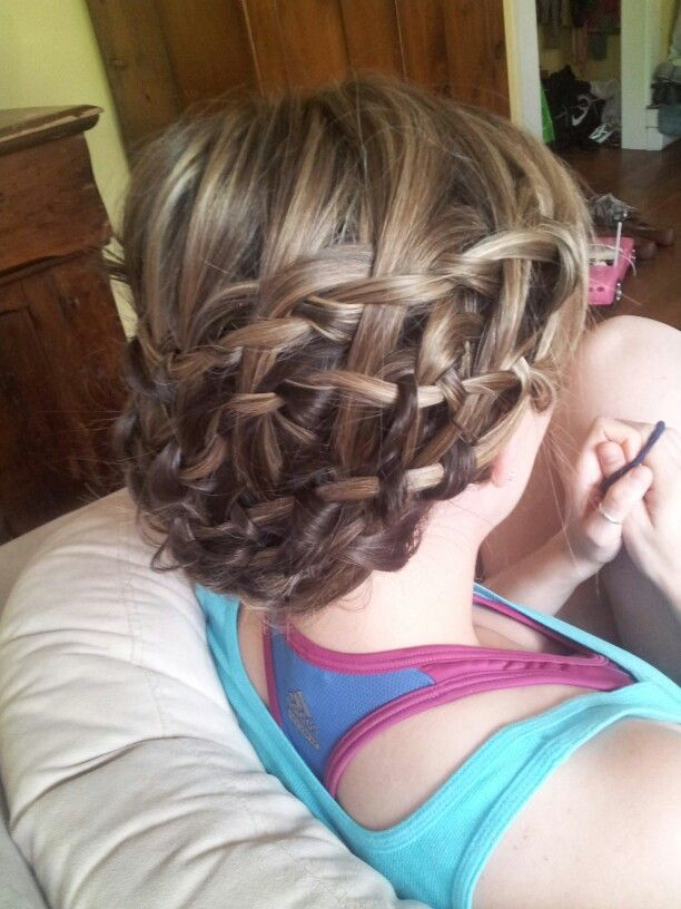 Waterfall braids! Just connect them all to each other and pin it up together on the side when you're done.