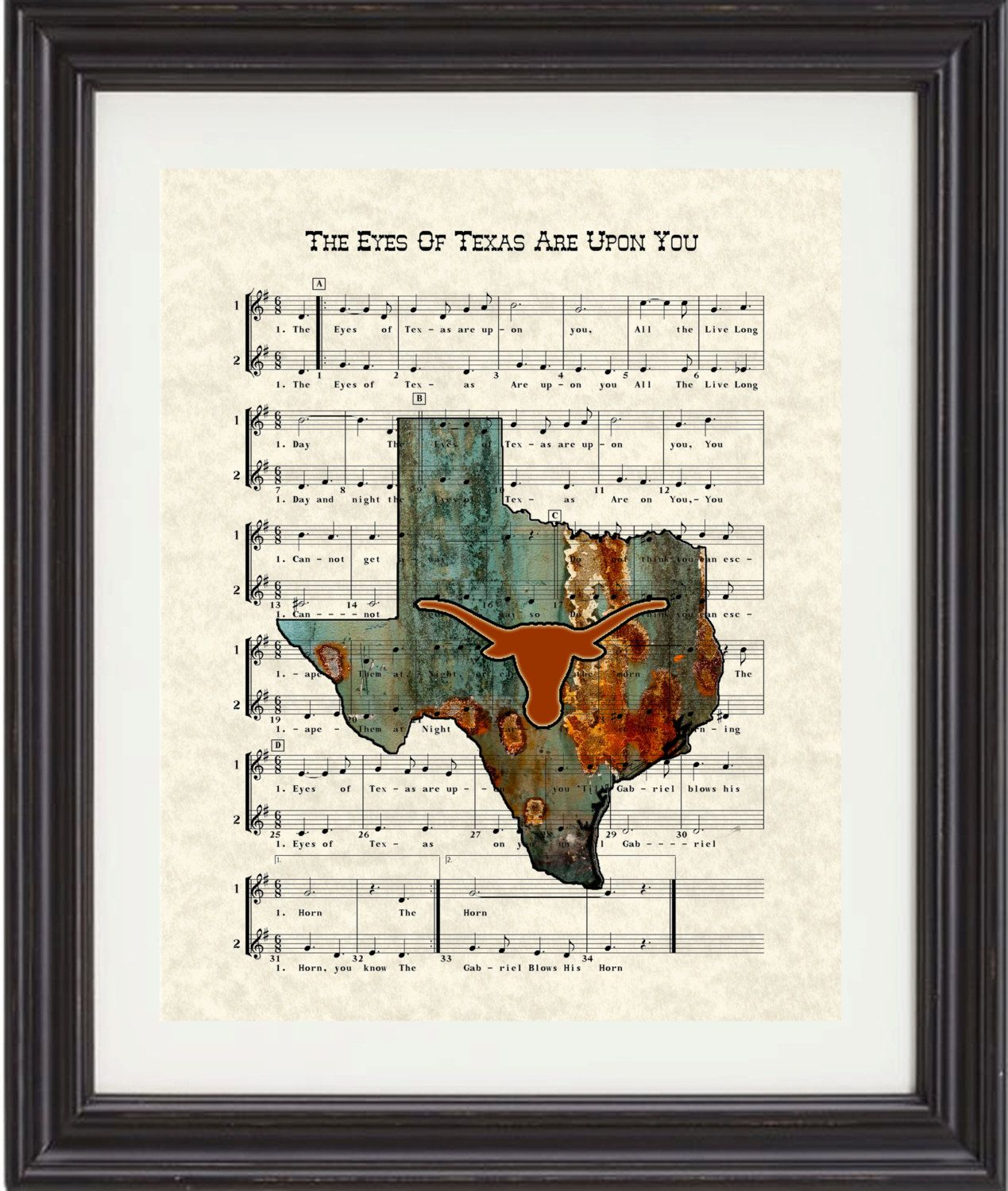 Texas Longhorns UT Fight Song Texas Map The by TexasGirlDesigns, $15.00