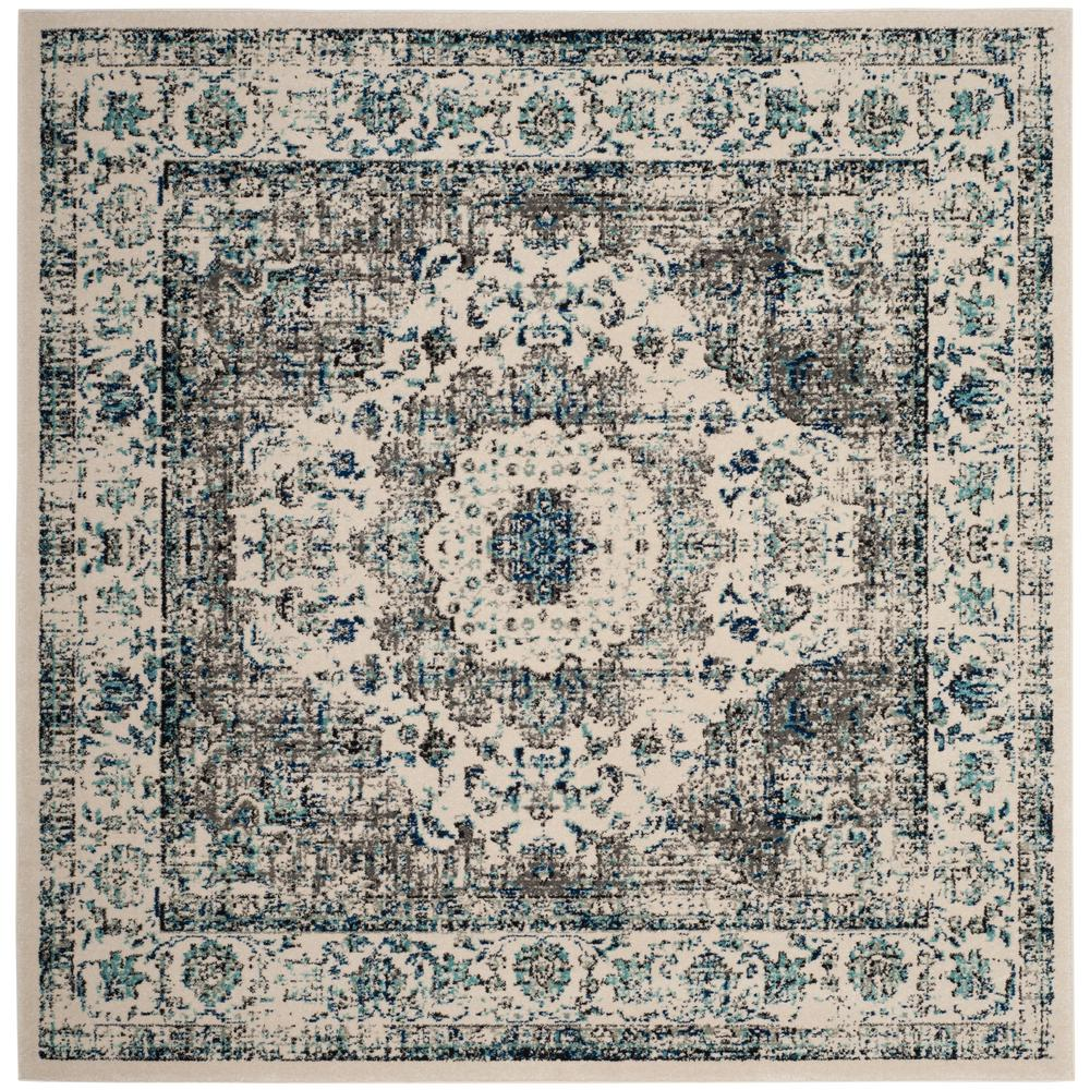 Safavieh Evoke Gray Ivory 7 Ft X 7 Ft Square Area Rug Evk220d 7sq Area Rugs Rugs Square Rugs