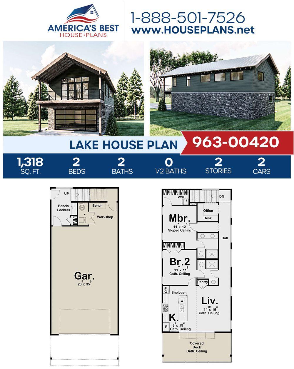 House Plan 963 00420 Lake Front Plan 1 318 Square Feet 2 Bedrooms 2 Bathrooms Lake House Plans House Plans Log Cabin House Plans