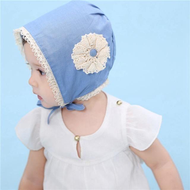 Bnaturalwell Baby bonnet Infant girls blue hat with flower Sunbonnet Baby  Spring Christening hat Handmade Toddler f1202e7e2b3d