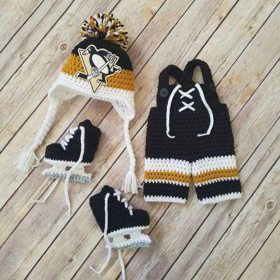 Crochet Newborn Pittsburgh penguins hockey set   photo prop   ready ... 47ad115869b